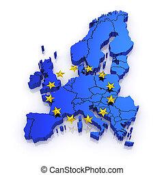 kaart, europe., driedimensionaal