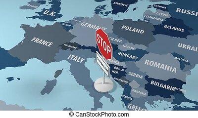 kaart, europe., teken., globalisme, door, stoppen
