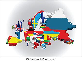 kaart, europeaan, 3d