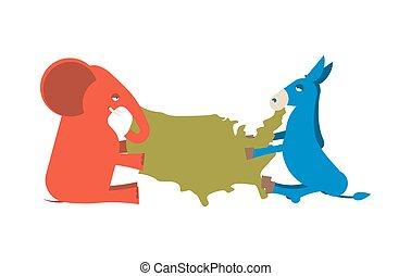 kaart, ezel, verenigd, macht, usa, verdeeld, republikeinen, politiek, tegen, democrats., america., hardloop, verkiezing, elefant, partij., presidentieel, states.