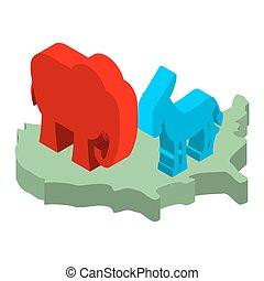kaart, ezel, verenigd, usa, politiek, democraat, verkiezingen, symbolen, america., republican., elefant, partij., staten