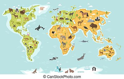 kaart, fauna, plants., dieren, wereld