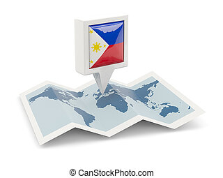 kaart, filippijnen, plein, vlag, spelden