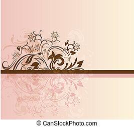 kaart, floral, bruine , vector, roze, design.