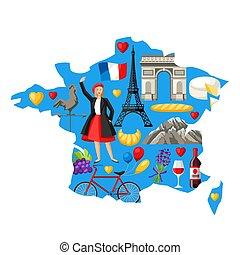 kaart, france., illustratie