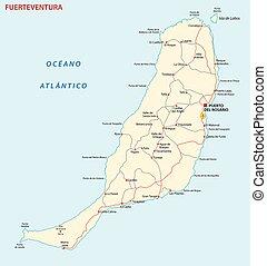 kaart, fuerteventura, kanarie, vector, eiland, straat