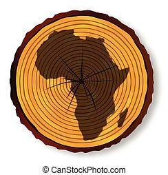 kaart, gedeelte, afrika, hout