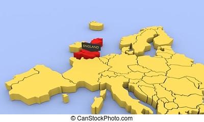 kaart, gereproduceerd, england., geconcentreerde, europa, 3d