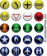 kaart, glanzend, iconen
