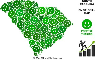 kaart, glimlachen, staat, vector, zuiden, samenstelling, geluk, carolina