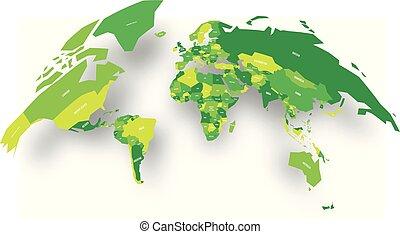 kaart, globe., bol staand, politiek, illustratie, vorm, vector, groene, gevallen, wereld, schaduw, 3d