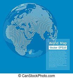 kaart, globe., dotted, blue., concept., achtergrond., globalisatie, vector, wereld, aarde, witte