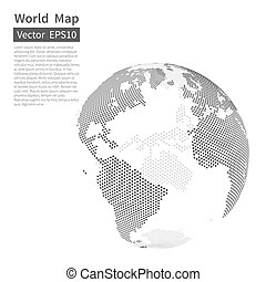 kaart, globe., dotted, concept., achtergrond., globalisatie, vector, black , white., wereld, aarde