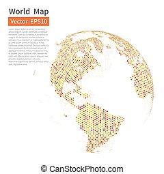 kaart, globe., dotted, concept., achtergrond., globalisatie, vector, wereld, aarde