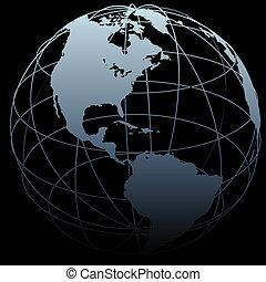kaart, globe, lengte, black , breedte, aarde, symbool, 3d