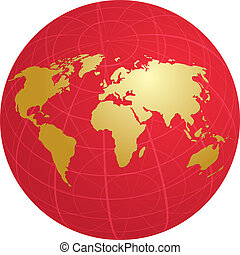 kaart, globe, rooster, illustratie, wereld