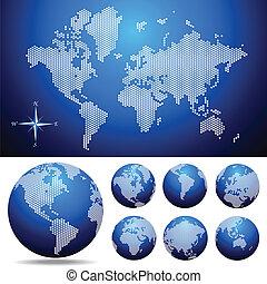 kaart, globe, vector, dotted