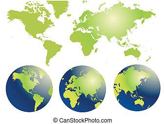 kaart, globe, wereld