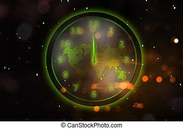 kaart, gloeiend, groene, wereld, klok