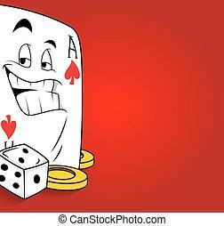 kaart, gokken, dobbelsteen, aas, spotprent