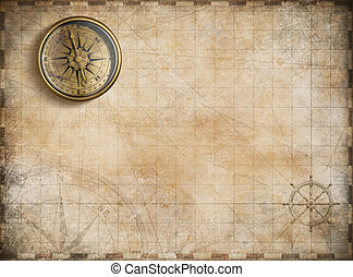 kaart, gouden, ouderwetse , nautisch, achtergrond, kompas