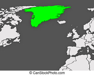kaart, greenland., worlds.