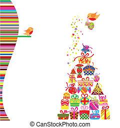 kaart, groet, kleurrijke, kado, kerstmis