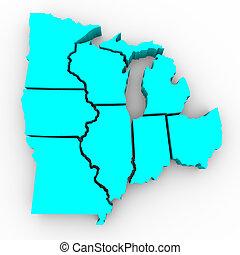 kaart, groot, gebied, -, meren, staten, 3d