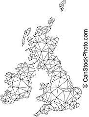 kaart, groot, netwerk, maas, polygonal, groot-brittannië, vector, ierland