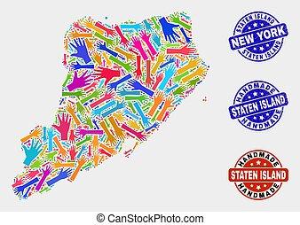 kaart, grunge, collage, eiland, met de hand gemaakt, staten,...