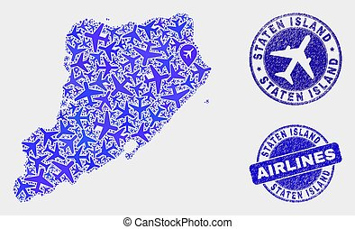 kaart, grunge, eiland, staten, postzegels, vector,...
