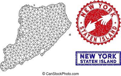 kaart, grunge, karkas, eiland, staten, polygonal, postzegels