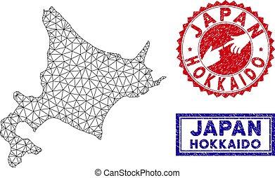 kaart, grunge, netwerk, eiland, polygonal, postzegels,...