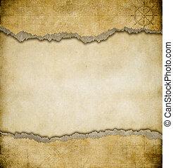 kaart, grunge, ouderwetse , gescheurd document, achtergrond
