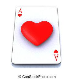 kaart, hart, spelend, aas, 3d