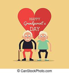 kaart, hart, wandelende, achtergrondkleur, licht, paar, gele, dag, tekst, stok, holdingshanden, grootouders, hem, bejaarden, vrolijke