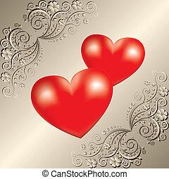 kaart, hartjes, groet, dag, valentine