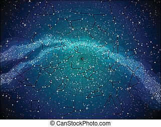 kaart, hemel, constellasions