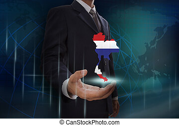 kaart, het tonen, achtergrond, thailand, zakenman, globe