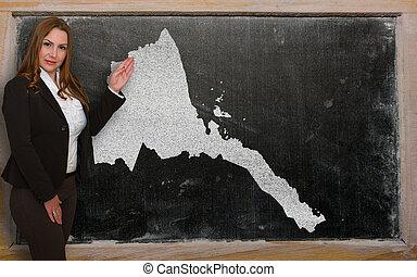 kaart, het tonen, bord, leraar, eritrea