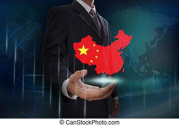 kaart, het tonen, china, achtergrond, zakenman, globe