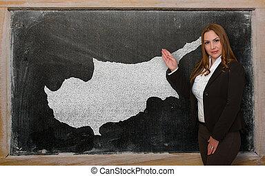 kaart, het tonen, cyprus, leraar, bord