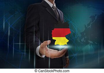 kaart, het tonen, duitsland, achtergrond, zakenman, globe