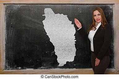 kaart, het tonen, leraar, dominica, bord