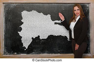 kaart, het tonen, leraar, dominicaans, bord