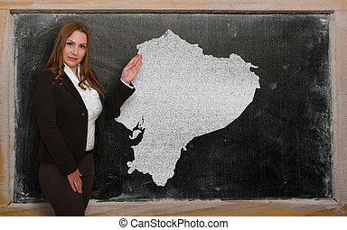 kaart, het tonen, leraar, ecuador, bord
