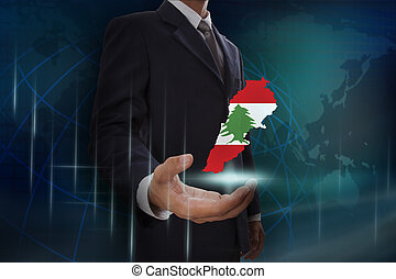 kaart, het tonen, libanon, achtergrond, zakenman, globe
