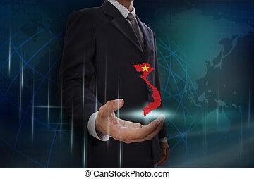 kaart, het tonen, vietnam, achtergrond, zakenman, globe