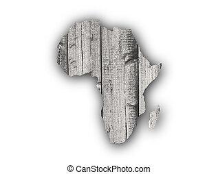 kaart, hout, afrika, verweerd