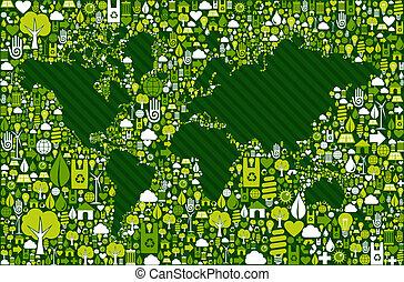 kaart, iconen, globe, groene achtergrond, aarde